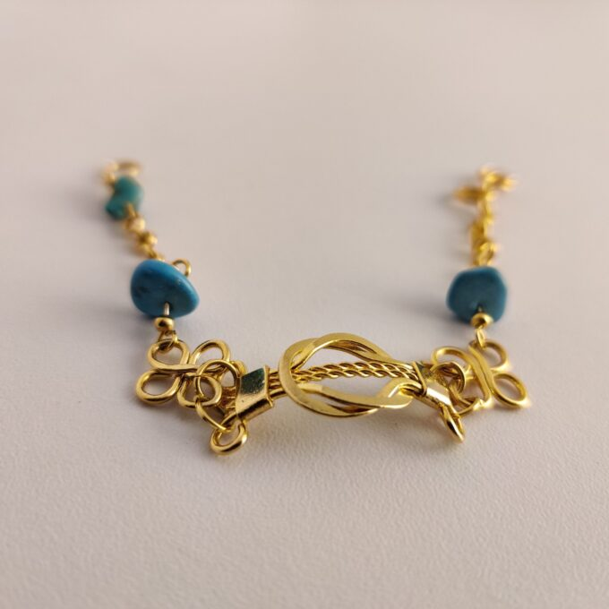 109 Ankle Wrist Bracelet Bronze Gold Plated Turquoise 145mm 25