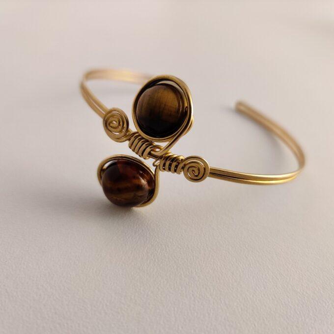 106 Bracelet Bronze Gold Plated Tigers Eye Adjustable 35