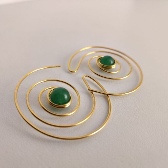 105 Earings Bronze Gold Plated Jade 28 A